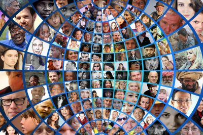 photomontage, faces, photo album